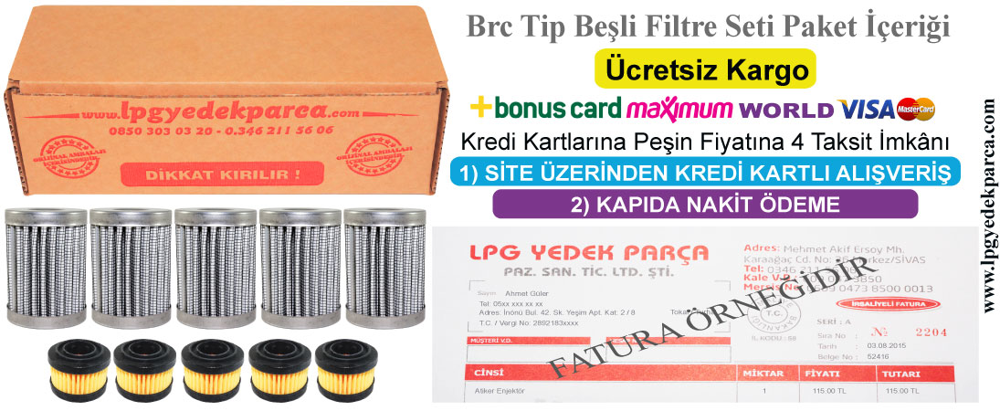 Brc Tip Beşli Filtre Takımı